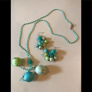 Jewelry - Teal/Lime Artistic Necklace/Earrings